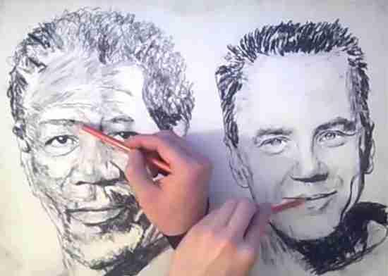 Ο άνθρωπος που ζωγραφίζει και με τα δυο του χέρια