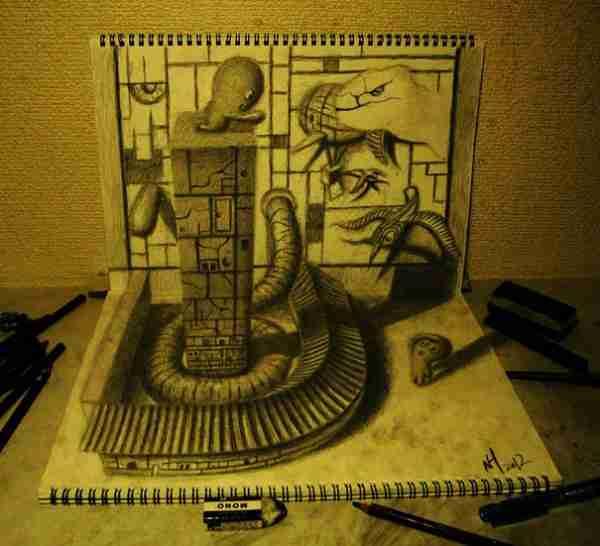 Τρισδιάστατα σχέδια με μολύβι του Nagai Hideyuki