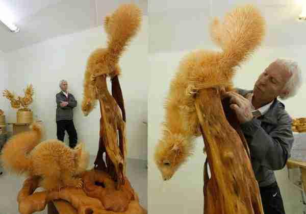 Γλυπτά ζώων από ροκανίδια του Σεργκέι Μπόμπκοβ