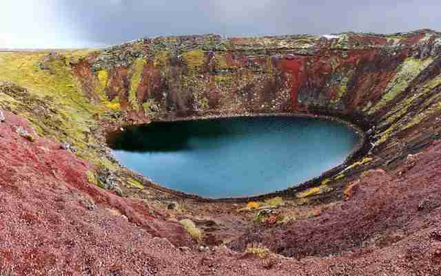 Panoramic-photo-of-Kerið-crater-lake-Iceland