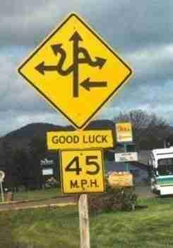 Καλή τύχη σίγουρα! Κάπου εκεί έξω, ένας άντρας και μια γυναίκα διαφωνούν για το που πρέπει να στρίψουν.