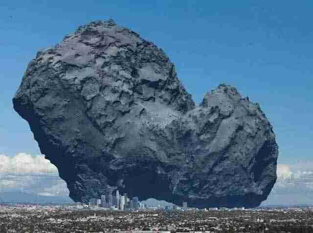 Ο κομήτης 67P / Τσουριούμοφ-Γκερασιμένκο δίπλα σε μια πόλη για να τονιστεί το μέγεθός του.