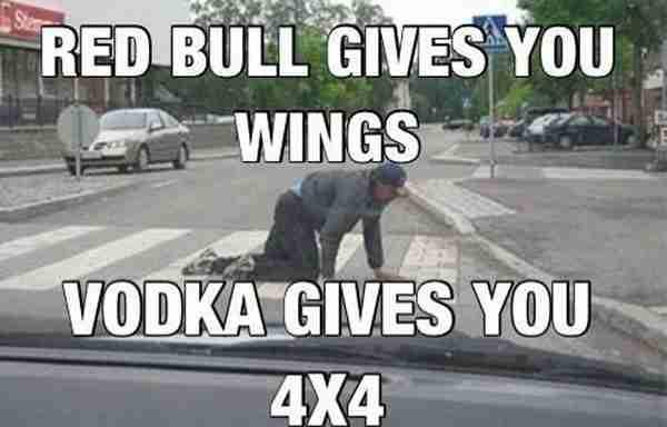 Μπορεί το Red Bull να δίνει φτερά, η βότκα όμως σε μετατρέπει σε 4x4!