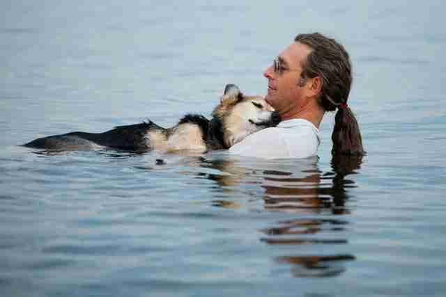 Ένα 19χρονο σκυλί με αρθρίτιδα, ο Σόεπ, αγκαλιά με τον ιδιοκτήτη του, κολυμπούν στη λίμνη Σουπέριορ.