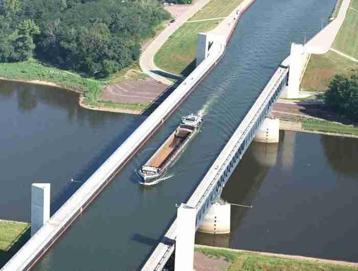 Τη μεγαλύτερη γέφυρα νερού στον κόσμο! Βρίσκεται στη Γερμανία, στην πόλη του Μαγδεμβούργου.