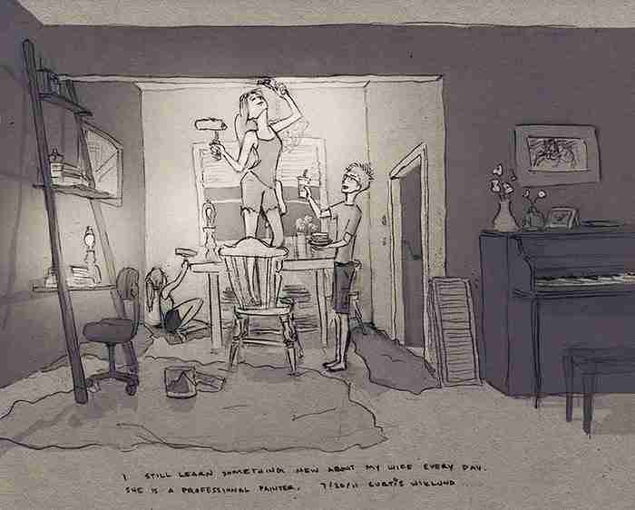 Ζωγραφίζει κάθε μέρα που περνάει με την αγαπημένη του. Σύνολο: 365 σκίτσα (μέχρι σήμερα)
