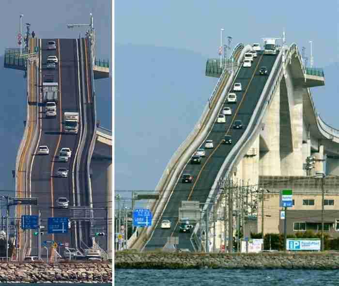 Όχι, αυτό που βλέπετε δεν είναι τρενάκι λούνα παρκ! Είναι μια γέφυρα στην Ιαπωνία