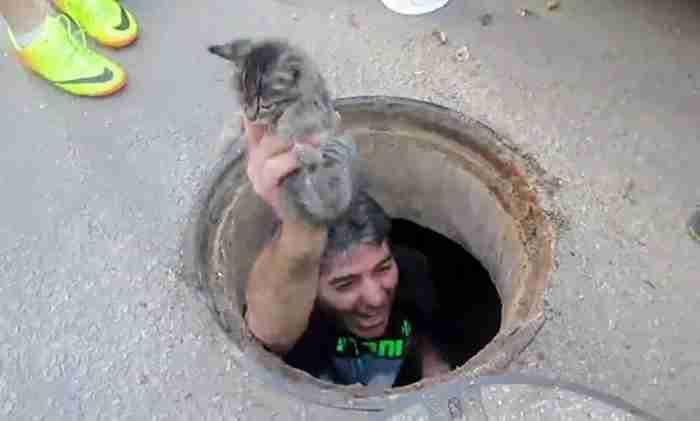 Αυτός ο άνθρωπος πήδηξε σε ένα φρεάτιο για να σώσει ένα μικρό γατάκι από το θάνατο