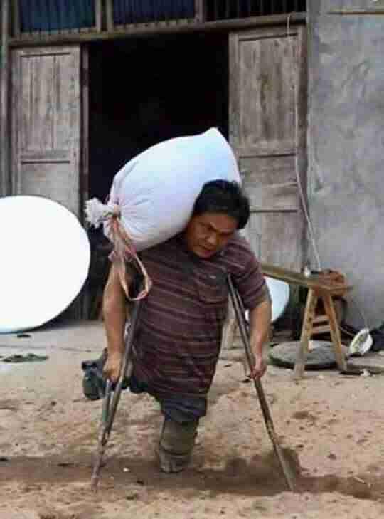 Δεν έχει πόδια αλλά κάθε μέρα μεταφέρει ασήκωτα σακιά για να ταΐσει τα παιδιά του