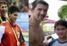 Οκτώ χρόνια πριν ένας 13χρονος φωτογραφήθηκε με το ίνδαλμα του, τον Μάικλ Φελπς. Οκτώ χρόνια μετά τον νίκησε στους Ολυμπιακούς Αγώνες