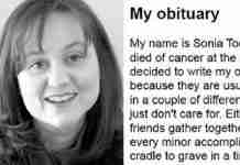 Μια ετοιμοθάνατη γυναίκα έγραψε η ίδια την νεκρολογία της. Είναι ότι πιο συγκλονιστικό διαβάσατε τελευταία