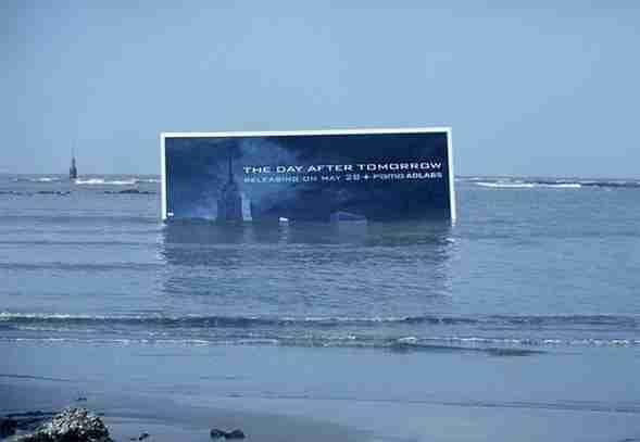 """Διαφήμιση για την προβολή της ταινίας """"The Day After Tommorow"""""""