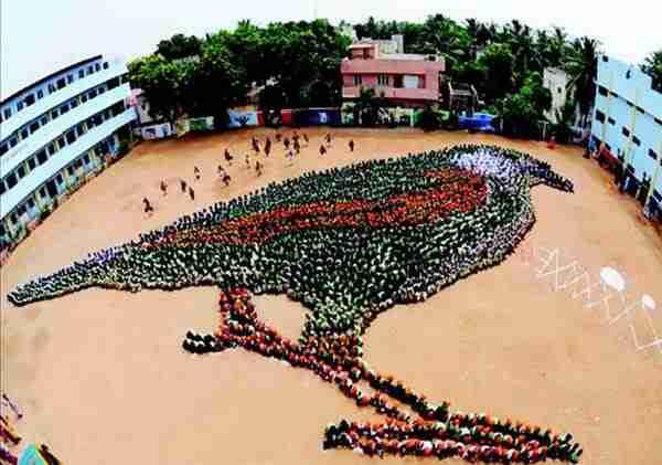 Εκατοντάδες παιδιά σχηματίζουν ένα σπουργίτι