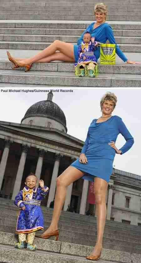 Ο κοντύτερος άνθρωπος στον κόσμο συναντά την γυναίκα με τα ψηλότερα πόδια