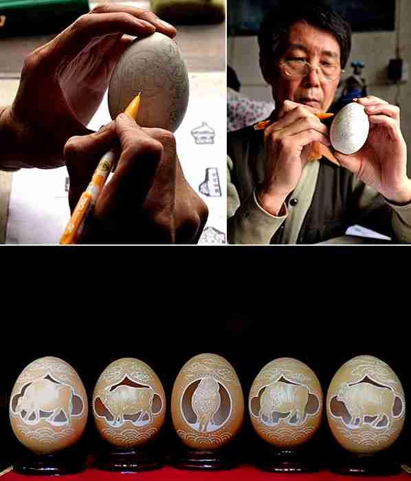 Γλυπτά πάνω σε κελύφη αυγών, του Wen Fuliang