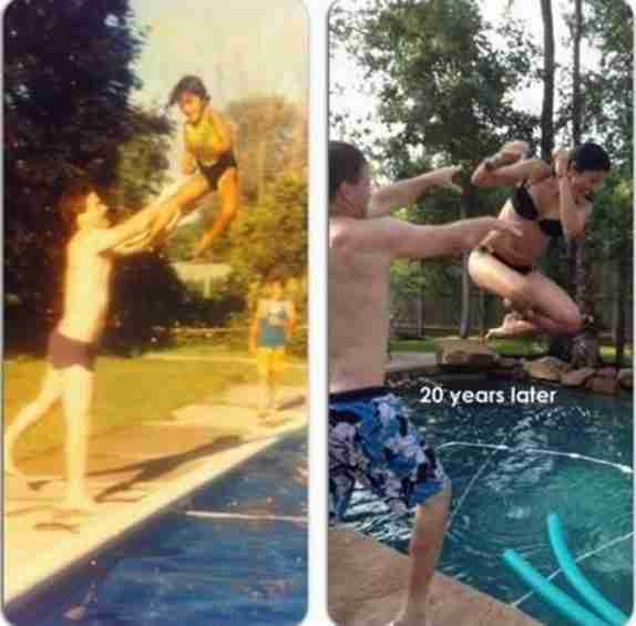 Ίδια πόζα για φωτογραφία, 20 χρόνια μετά!