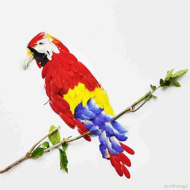 Εξωτικά πουλιά από πέταλα λουλουδιών!