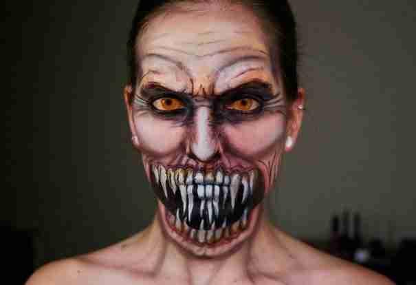 dinfo.gr - Χρησιμοποιώντας το μακιγιάζ καταφέρνει να μεταμορφώνεται σε τρομακτικά πλάσματα