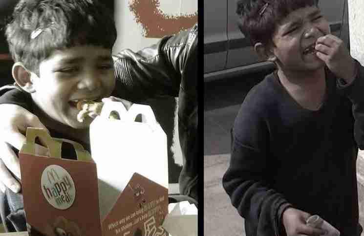 Ένα 5χρονο φτωχό αγόρι τρώει για πρώτη φορά στα McDonald's. Δείτε το βίντεο