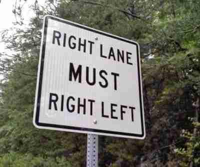 Τη δεξιά στροφή πρέπει να τη πάρετε αριστερά.. Κατανοητό!