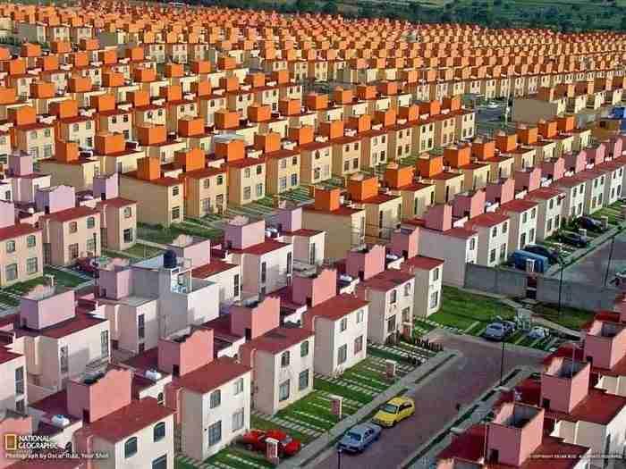 Ένα πραγματικό συγκρότημα κατοικιών στο San Buenaventura του Μεξικό.