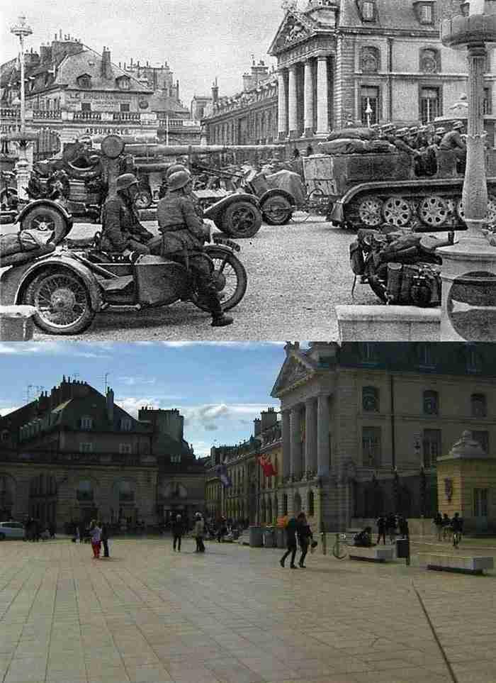 17 Ιουνίου του 1940, σε σύγκριση με μια φωτογραφία που τραβήχτηκε στις αρχές της δεκαετίας του 2000.