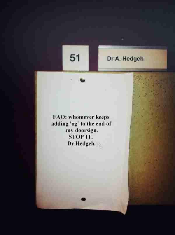 """Ο γιατρός Hedgeh παρακαλεί τον άνθρωπο που συνεχώς προσθέτει τα γράμματα """"og"""" στο τέλος του ονόματος του να σταματήσει να το κάνει. (Hedgehog σημαίνει.. σκαντζόχοιρος)"""