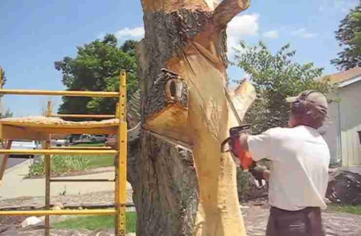 Πήρε το αλυσοπρίονο και άρχισε να κόβει ένα νεκρό δέντρο. Όταν τελείωσε είχε δημιουργήσει κάτι υπέροχο!