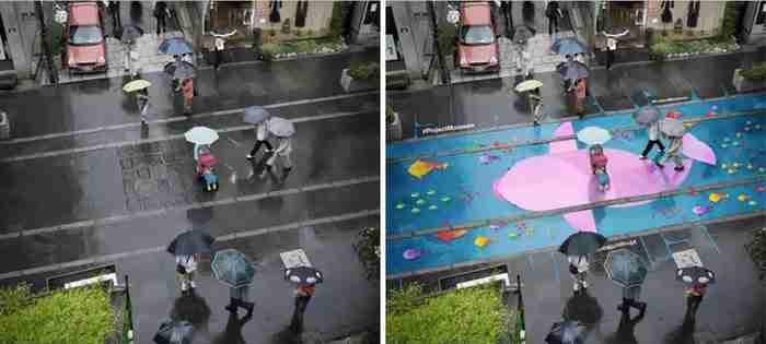 Ζωγραφίζουν όμορφα σχέδια στους δρόμους με χρώμα που εμφανίζεται κάθε φορά που βρέχει!