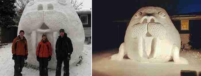 Τρεις αδέρφια κάθε Χειμώνα δημιουργούν τεράστια γλυπτά από χιόνι μπροστά στο σπίτι τους