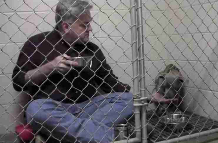 Κλειδώθηκε στο κλουβί μαζί με ένα πίτμπουλ. Προσέξτε τι συμβαίνει μόλις αρχίσει να τρώει