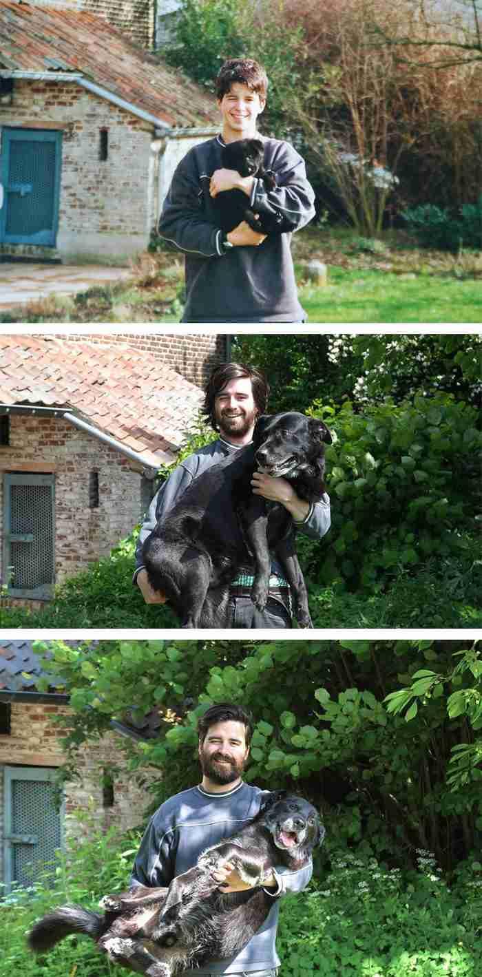 Αναδημιούργησε μια φωτογραφία με τον σκύλο του 15 χρόνια μετά για να του πει για πάντα αντίο