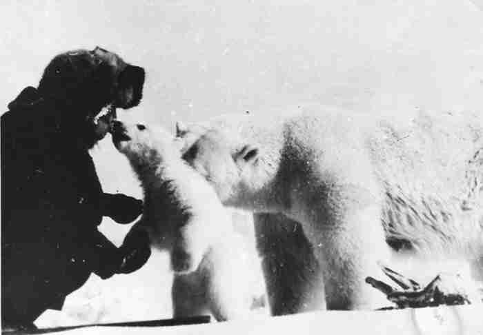 Ο άνδρας ταΐζει την πολική αρκούδα την ώρα που το μικρό της τον αγκαλιάζει με τρυφερότητα. Η συγκινητική ιστορία μιας φωτογραφίας